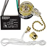 HQRP Kit Ceiling Fan Capacitor CBB61 5uf+5uf 4-Wire UL Listed and 3-Speed Fan Switch
