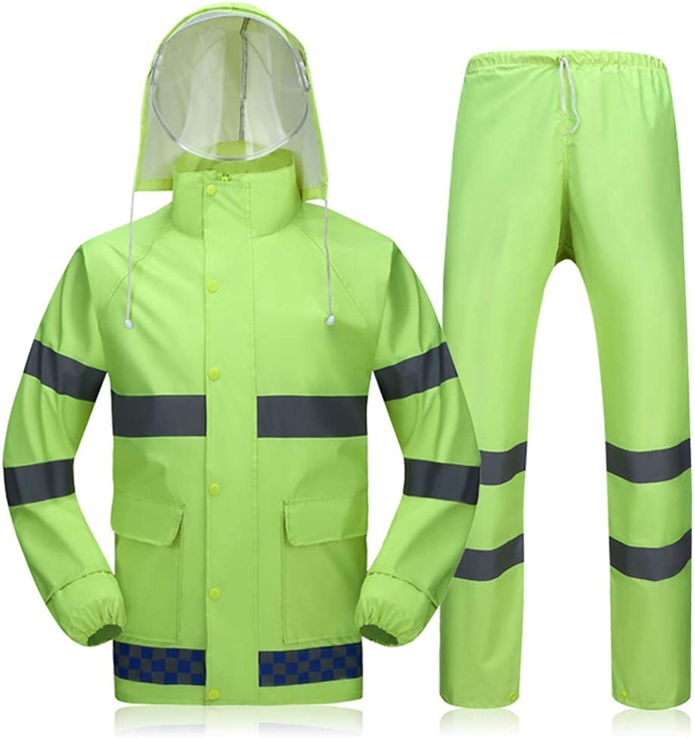 Adult Reflective Split Raincoat Outdoor Hooded Raincoat Double Mesh Removable Double Cap Fluorescent Green Hunting Mountaineering (Size   XXXL)