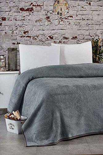 Buymax Kuscheldecke 155x210 cm Warme Couchdecke Tagesdecke Wohndecken Sofadecke Super Flausch Fleecedecke als Sofaüberwurf, Farbe Anthrazitgrau