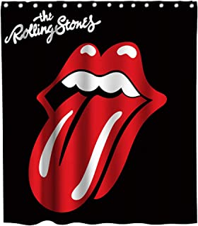Final Friday The Rolling Stones Sexy Lips Theme Fabric Shower Curtain Sets Bathroom Decor with Hooks Waterproof Washable 70 x 70 inches Red Black and White (Red Black and White)