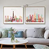 XWArtpic Aquarell London New York Skyline von Paris Poster