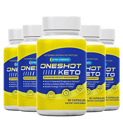 Price comparison product image (5-Pack) The Official Brand,  One Shot Keto,  Extra Strength,  Pure & Patented Exogenous Ketones,  Dietary Supplement