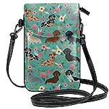 Borsa a tracolla leggera per cani con motivo floreale bassotto, per donne e ragazze, con pratico trasporto