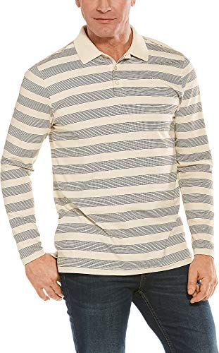 Coolibar UPF 50+ Men's Coppitt Long Sleeve Weekend Polo - Sun Protective (Large- Cream/Black Rugby Stripe)