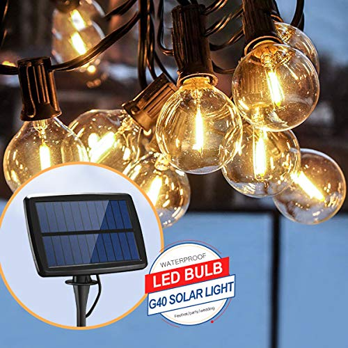Solar-LED-Lichterkette, 4,6 m, 12 LED-Leuchtmittel, wasserdicht, G40, solarbetrieben, 4 Modi, für Party, Terrasse, Garten, Hochzeit, Weihnachtsdekoration