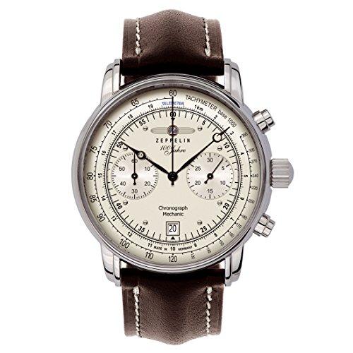 Zeppelin Herrenarmbanduhr Special Edition 100 Jahre Zeppelin Chronograph Mechanik mit Datum champagner 7608-1S