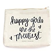 Happy Girls Are The Prettiest Canvas Makeup Bag | Audrey Hepburn Quote Make-Up Organizer Travel Accessories Toiletry Holder Pencil Case Bridesmaid Cosmetic Gift for Her Hand Lettered…