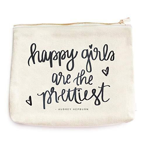 Happy Girls Are The Prettiest Audrey Hepburn Quote Cotton Canvas Makeup Bag | Inspirational