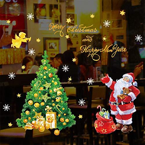decalmile Weihnachten Fenster Wandtattoo Weihnachtsbaum Schneeflocken Weihnachtsmann Wandsticker Fensteraufkleber Weihnachtsdekoration