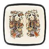 4 Perillas decorativas negras del gabinete del aparador del cajón de la cocina Perillas del gabinete de la superficie de cristal perillas de la puerta del armario chino Año Nuevo Imagen Fuwa