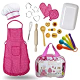 Next Milestones Chef Baking Cooking Costume for Kids 19pc Include Apron Chef Hat Oven Mitt Hand Mixer Cookie Cutters Measuring Spoons Wooden Rolling Pin Wooden Ladle Mixer and Bag for Toy Storage
