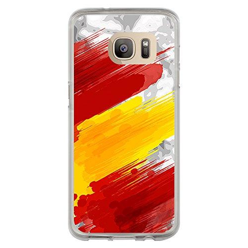 BJJ Funda Transparente para [ Samsung Galaxy S7 Edge ], Carcasa de Silicona Flexible TPU, diseño: Bandera españa, Pintura de brocha Sobre Fondo Abstracto