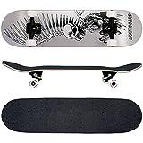 FunTomia® Skateboard monopatín rodamientos Mach1® y Rodillos de dureza 100A - Hecho con 7 Capas de Madera 100% Arce Canadiense (Buitre)
