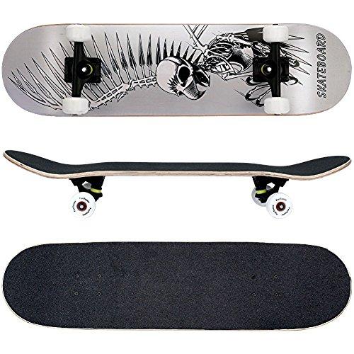 FunTomia Skateboard Planche Érable 7 Plis charge max 130 kg, avec roues et ABEC-11 + sac inclus