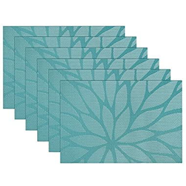 SiCoHome Placemats,Set of 6,Dining Room Placemats for Table Woven Vinyl Kitchen Placemats(Blue)