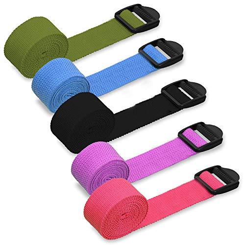 HUI JIN Cinturón de Yoga algodón Natural con Ajuste de cincha de plástico, Color Negro