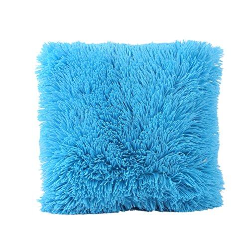 Yuanu Peluche Housse de Coussin Chaud Carré Taie d'oreiller Decoration Maison Canapé Office Bleu (43*43cm/17\