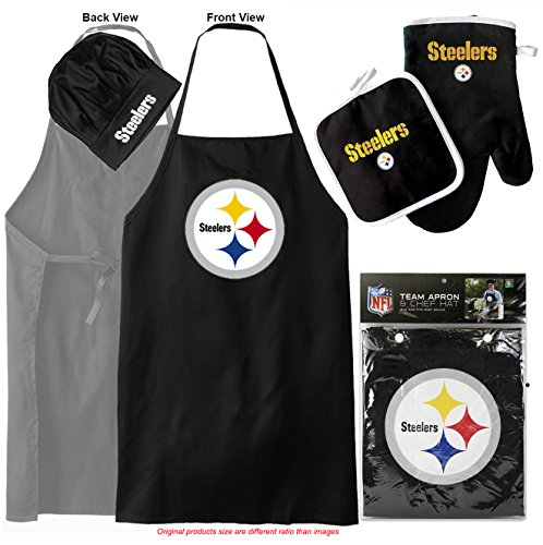 Pittsburgh Steelers (Apron & Oven Mitt Pot Holder) Bonus Bottle Opener, Barbeque Apron and Chef's Hat , NFL Licensed