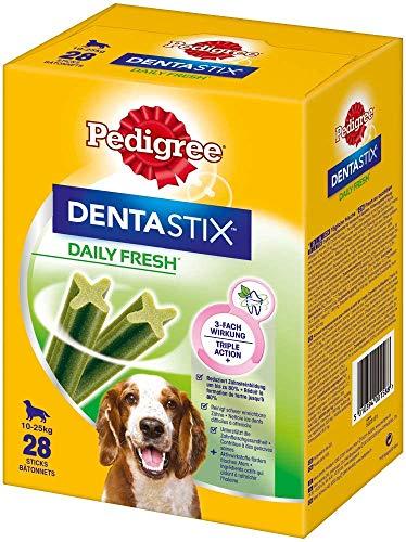Pedigree DentaStix Daily Fresh Zahnpflegesnack für mittelgroße Hunde – Hundeleckerli mit Aktivwirkstoffen für jeden Tag – Für gesunde Zähne und einen frischen Atem – 112 Sticks (4 x 28 Stück)