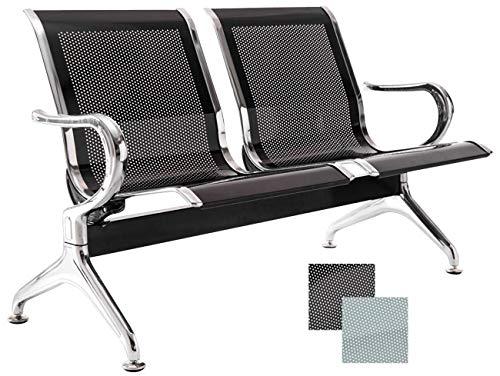Chaises Salle d'Attente sur Poutre Airport - Meuble Salle d'Attente Ergonomique et Accoudoirs - Chaise sur Poutre en Métal avec 2, 3 ou 4 Pl, Couleurs:Noir, Taille:2 Places