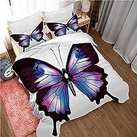 カラフルな蝶の羽毛布団カバー、女の子と10代の若者に適したダブルキングサイズ3ピース3D蝶の寝具(1羽毛布団カバーと2枕カバー)-ButterflyA-(200X240CM