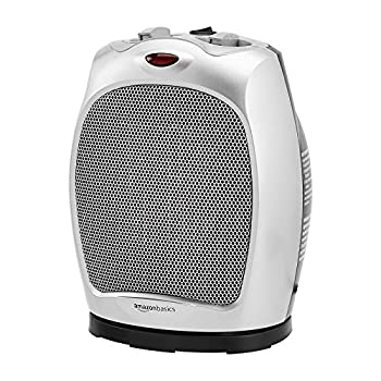 Amazon Basics 1500W Oscillating Ceramic Heater with Adjustable Thermostat Silver