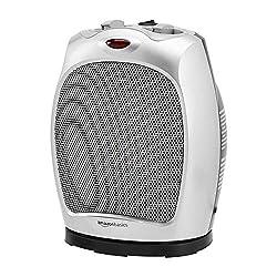 Amazon Basics 1500W Oscillating Ceramic Heater with Adjustable Thermostat, Silver