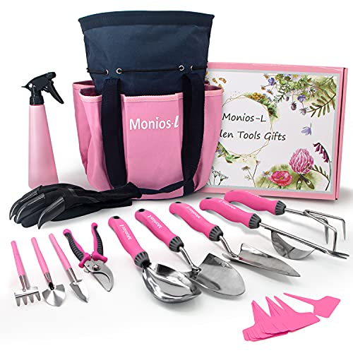 Monios-L Garden Tool Set, Gardening Gifts for Women, Stainless Steel Heavy Duty Gardening Supplies with Non-Slip Ergonomic Handles, Storage Tote Bag, Pink Yard Tools with Extra Succulent Kits
