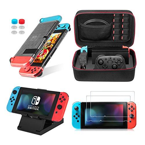 Keten Le Kit D'accessoires 13 in 1 Nintendo Switch comprend Nintendo Switch Etui / Nintendo Switch Housse / Protecteur D'écran Réglable / HD (2 paquets)