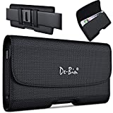 De-Bin Cell Phone Holster Designed for iPhone 11 XR, Samsung Galaxy S21 S20 S10 S9 S8 A01 A10e, LG K31 K8x G8 & G7 ThinQ Nylon Belt Holder with Belt Clip Belt Loops Pouch Fits Phone with Other Case on