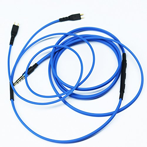 Cable de repuesto compatible con Sennheiser HD25, HD 25-1, HD25-1 II, HD25-13, HD25-C, auriculares Amperior, volumen remoto y micrófono, compatible con Apple iPhone, iPod, iPad, iOS, color azul