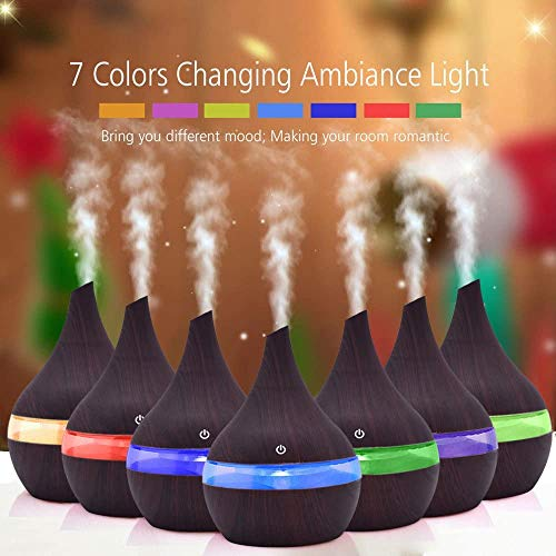 Essential Oil Diffuser Wood Grain Multicolor Air Aroma LED Ultrasonic Aroma Aromatherapy Humidifier with 7 Colors Night Light