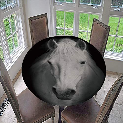 Fansu Manteles de Mesa Redonda de Tela, Impermeable Antimanchas Comedor 3D Animal Caballo Impresión Decorar Manteles para Cocina/Cena/Picnic Decoración (Caballo Negro,130cm)