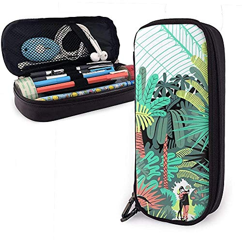 Plant Forest Art Painting Pen Case Big Capacity Pencil Bag Makeup Pouch Durable Students Stationery with Double Zipper