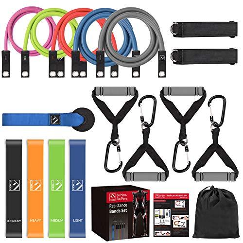 FITINDEX Resistance Bands Set, 22Pcs Widerstandsbänder Set mit Handgriffen,Fußschlaufen und Türanker,5 fitnessband kombinierbar bis zu 150 lbs Indoor/Outdoor für Männer/Frauen für Yoga und Workout