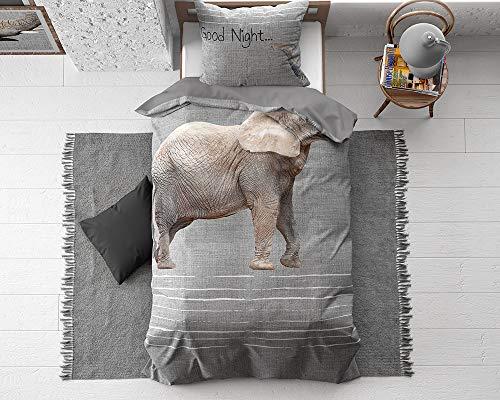 SLEEP TIME Kinderbettwäsche Baumwolle Elefanten, 135cm x 200cm, Mit 1 Kissenbezüge 80cm x 80cm, Bunt