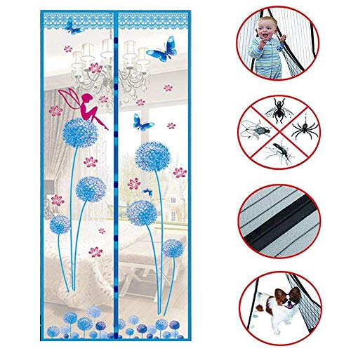 Magnetische Screen Door met Full Frame klittenband, Instant Retractable Screen Door, Dandelion Foto Gecodeerde Mesh Curtain, houdt muggen, Blauw, 90x210cm sudaijins
