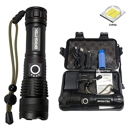 High Lumen Tactical LED Flashlight Rechargeable Waterproof Super Bright XHP50 Zoomable Powerful Best Camping Emergency Outdoor Flashlights with USB Charger & 26650 Battery Brightek linterna