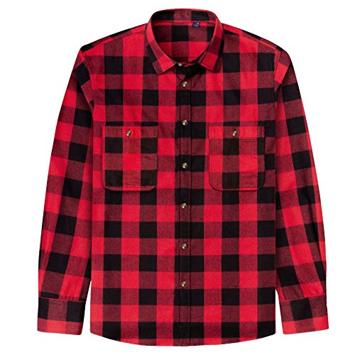J.VER Men's Flannel Plaid Shirts Long Sleeve Regular Fit Button Down Casual Red/Black