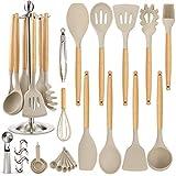 Silicone Kitchen Cooking Utensil Set, EAGMAK 16PCS Kitchen Utensils Spatula Set with Stainless Steel...