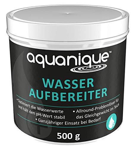 Aquanique tratamiento del agua 500 g, para estanques, suficient para hasta 5.000 l, equilibrio en el estanque, estabiliza el valor del ph