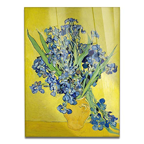 Giallobus - Schilderij - Vincent Van Gogh - Vaas met blauwe bloemen - bedrukking op plexiglas acryl - klaar om op te hangen - Diverse formaten - 70x100 cm