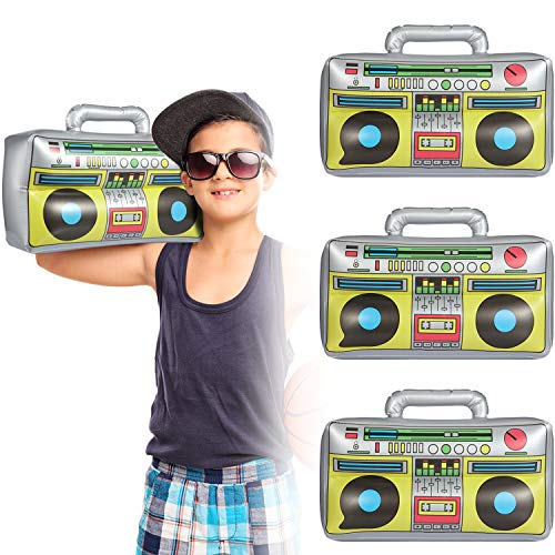 meekoo Inflatable Boombox 16.5 Inches Inflatable Boom Box 80s 90s Party Decorations for Rappers Hip Hop B-Boys Costume Accessory Party Supplies (3 Packs)