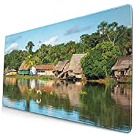KIMDFACE 大型 マウスパッド 熱帯のアマゾン川沿いの村の小屋ヤシの木晴れた日雲鳥の森 個性的 おしゃれ 柔軟 かわいい ゲーミングマウスパッド PC ノートパソコン オフィス用 デスクマット 滑り止め 特大 マウスマット