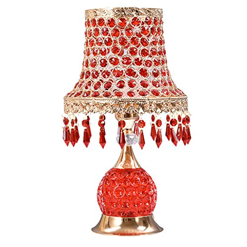 XUXUEPING Salon De Lampe De Table En Cristal Perlé, Maison Matrimoniale, Dortoir D'université, Table Basse, Lampe De Bureau De Bibliothèque (Couleur : Rouge)