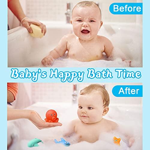 Euyecety Badewannenspielzeug Badespielzeug Wasserspielzeug ab 12 Monate, Duschspielzeug Geschenk für 1 2 3 4 5 6 Jahre alte Jungen Mädchen, Baby Badespielzeug Badespaß BPA Frei (8 Niedliche Tiere)