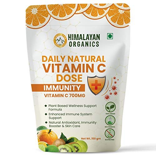 Himalayan Organics Daily Natural Vitamin C 700mg/Serve | Total Immunity Support | From Amla, Orange, Acerola Cherry, Acaiberry | 30 Days Supply