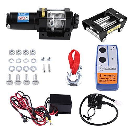 Cabestrante Electrico, 12V Cargar 4000lb/1818Kg Cuerda de Acero grúa cabestrante Automatico con...