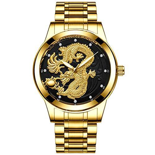 HONGXIGUAN Uhr Männer Drachen Frauen Uhren Quarz Gold Uhr Wasserdicht Edelstahl Leucht Männlich,Men 9