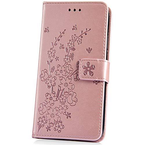 JAWSEU Coque Galaxy S10,Etui Galaxy S10 Pochette Portefeuille PU Étui Cuir à Rabat Housse de Protction Magnétique Stand Leather PU Case Flip Wallet Case avec Élégant Fleur Motif,Or Rose